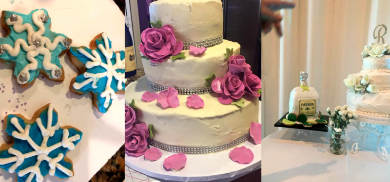 beautifully decorate cake and cookies